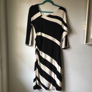 Bordeaux asymmetrical striped dress